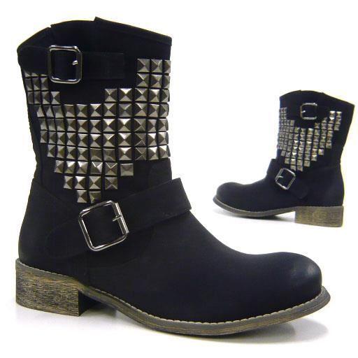 bottillon Biker chaussures femmes rivet Robuste 36 noir wFfIq4UxI
