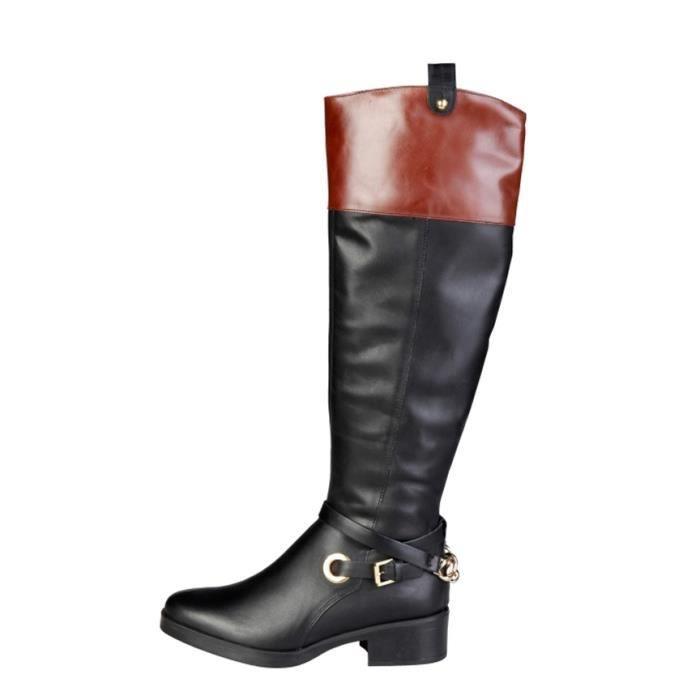 Pierre Cardin - 4105703 bottes en cuir noir talon -Hauteur 4 cm