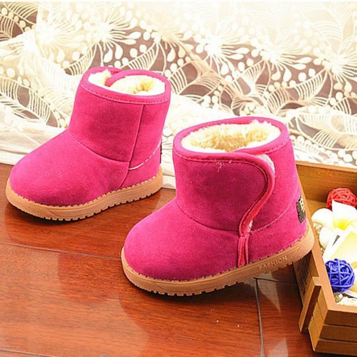 BOTTE Hiver Bébé Enfant Style Coton Botte Chaud Bottes de Neige@Rose rougeHM 3386YScnK