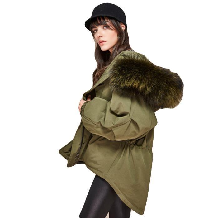 acheter bien usine authentique juste prix Manteau Femme de Marque col en fausse fourrure Manteau Femmes à capuche  VêTement Verte armée