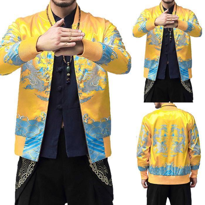 Veste Zipper D'homme Manteau Rétro Pardessus Officier Imprimé Yg5712 Col Outwear D'hiver P1Atxn