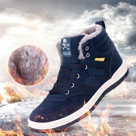 En Air Peluche Hiver Cheville De HommesFemmes Chaud Neige Chaussures Plein bleu Bottes Travail E9IDH2