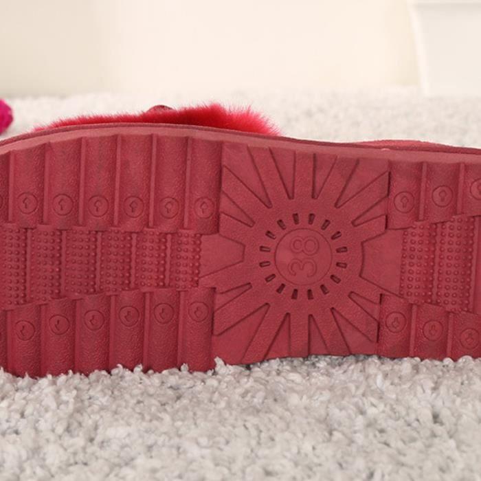 Chaussures Femme Hiver Peluche fond épaisé Chaussure MMJ-XZ065Rouge40