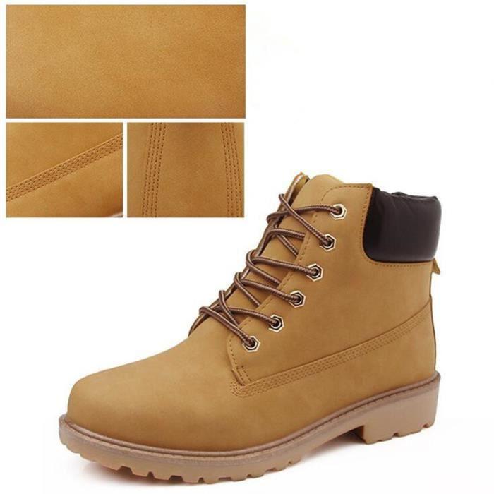 Martin Bottines Hommes Confortable Classique En Cuir Peluche Boots TYS-XZ030Jaune39-jr EdFto