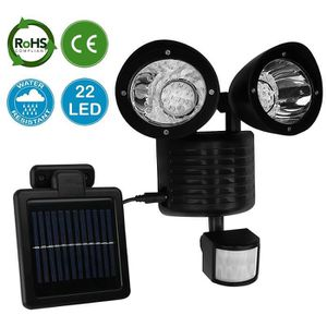 APPLIQUE EXTÉRIEURE 22 LED Lampe solaire de sécurité avec détecteur de