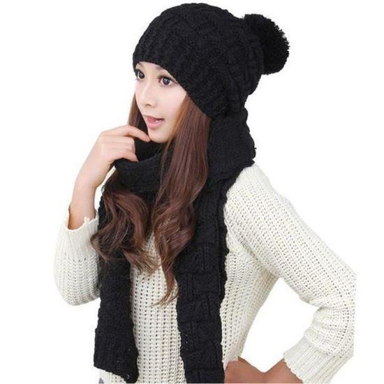 10c08354563 exquisgift®1set chaudes laine tricot écharpe capuche châle casquettes  costume pour femme~WSS11221111