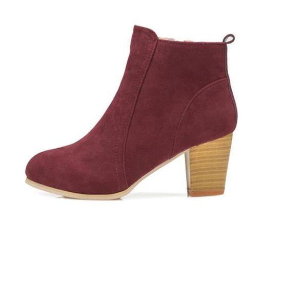 Automne Hiver Hauts Avec Chaussures Cheville Spentoper Martin Femmes Bottes rouge De Talons 6OqE1