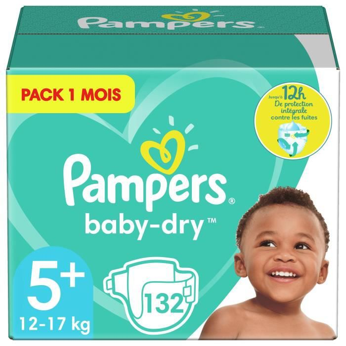 Pampers baby dry taille 5 13 à 25kg 132 couches format pack 1 mois