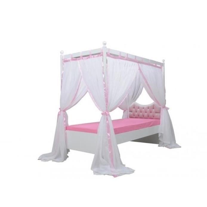 lit de princesse 120cm avec rideau blanc rose petite fille et avec strass achat vente. Black Bedroom Furniture Sets. Home Design Ideas