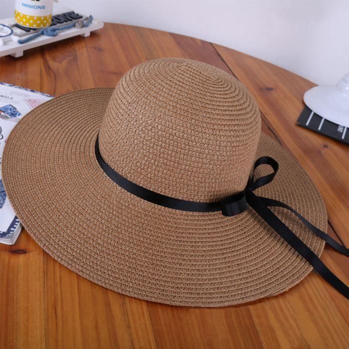 TININNA Femme Chic Large Bord Floppy Paille Chapeau de Soleil d/ét/é Chapeau de Plage Cap Soleil Visi/ère