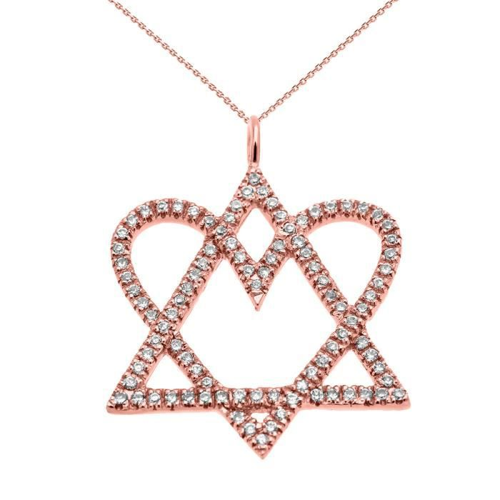 Collier Femme Pendentif 14 Ct Or Rose Étoile De David Amour Cœur Diamant (Livré avec une 45cm Chaîne)
