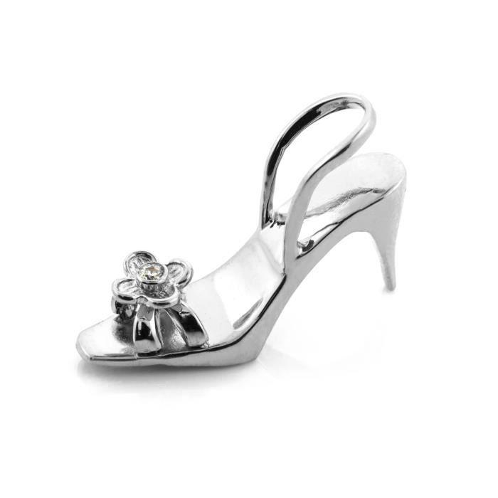 Collier Pendentif14 ct Or Blanc 585/1000 3D chaussures Oxyde de Zirconium