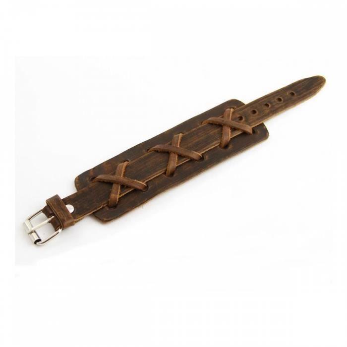 Joli Bracelet Homme Cuir Marron M H 926 - Achat   Vente bracelet ... 63dc724d1646