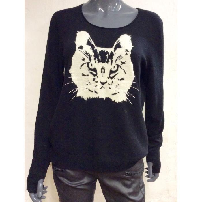BERENICE Pull femme noir visuel chat Noir - Achat   Vente pull ... ed5a74cdbbf6