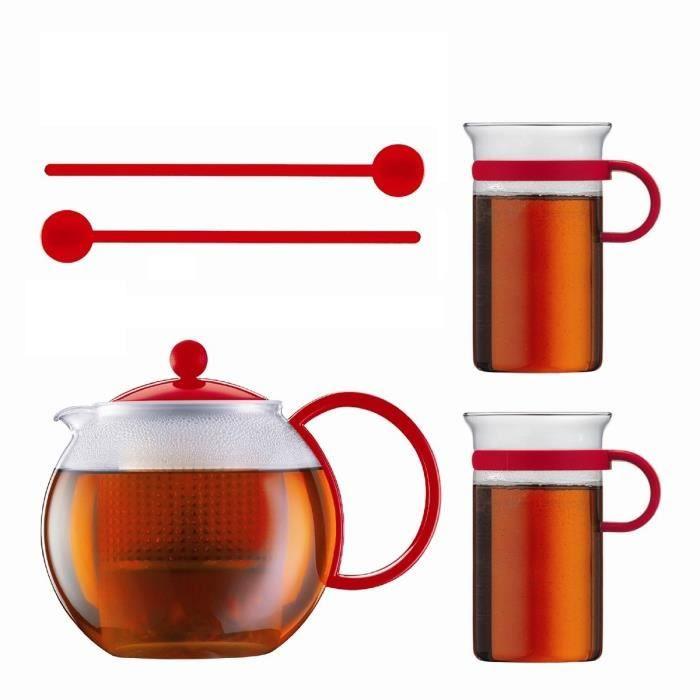 BODUM Set ASSAM avec théière à piston 1l rouge incluant 2 tasses ...