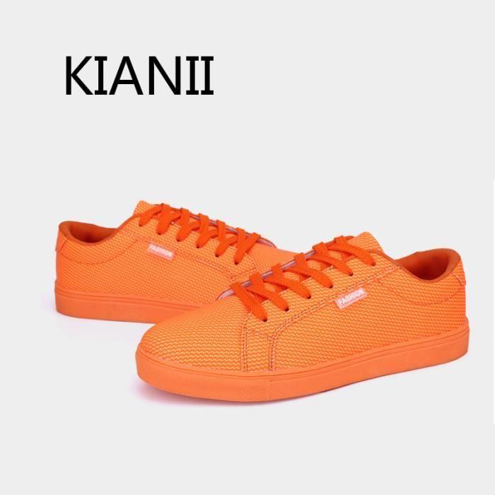 Chaussure Homme Basket Cuir-Orange