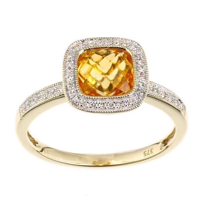 Revoni - Bague carrée en or jaune 9 carats, diamants et citrines