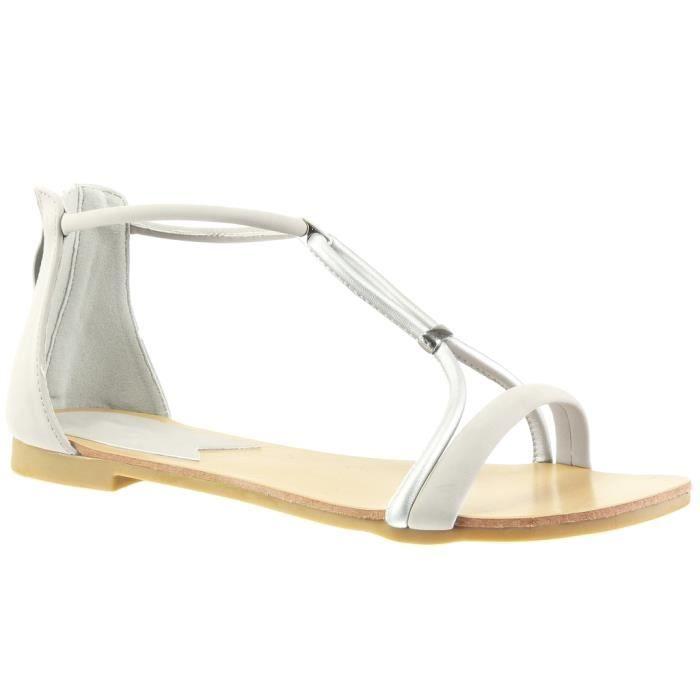 Argent Femme Lanière Angkorly T Mode Bloc Sandale Salomés Chaussure Talon 1 6 41 Cm 117 shQrxBtdC
