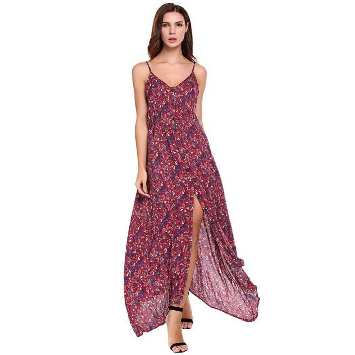 robe de soirée longue Femmes Casual imprimé floral V Bouton COU fendue