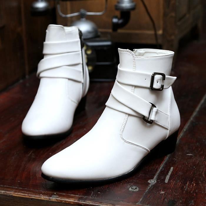 Botte Homme Simple britannique Big Taille haute qualité en cuir de loisirs blanc taille8.5 DI1BwtXP