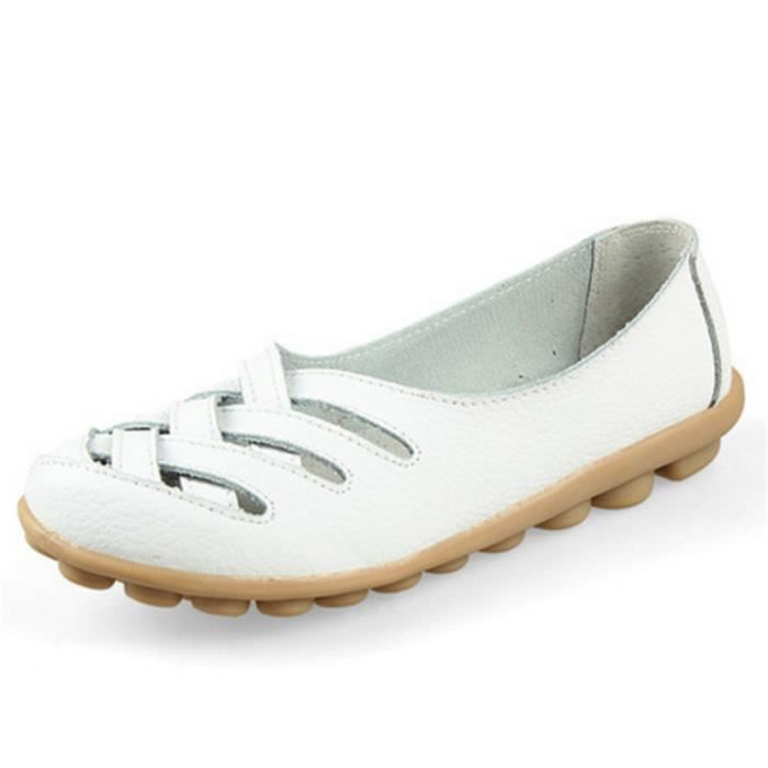 Chaussures Femmes ete Loafer Ultra Leger plate Chaussures ZX-XZ053Blanc41
