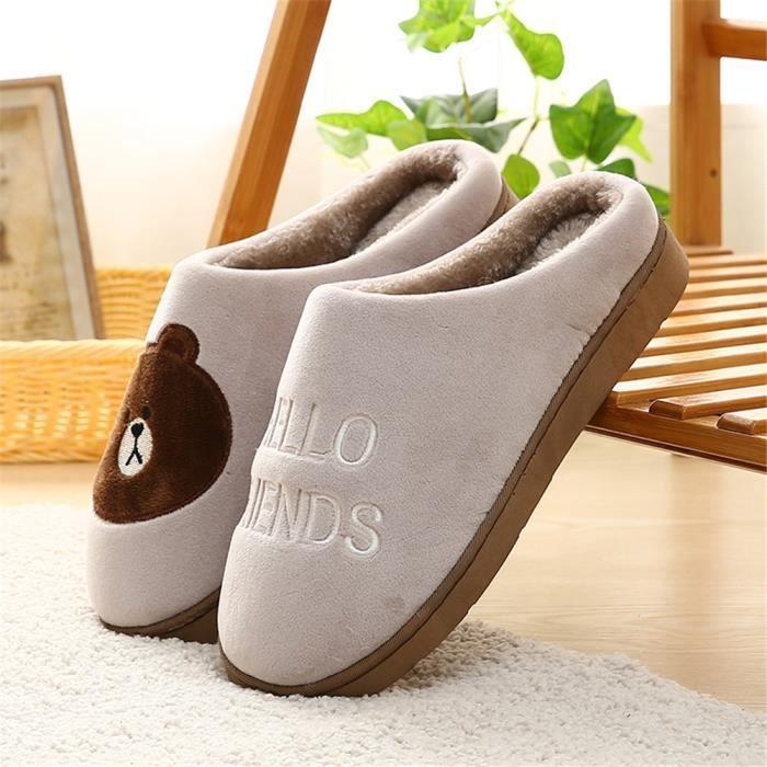 Homme Chausson de maison des pantoufle Respirant Chaussons hommes Chaud Haut qualité coton chaussure fourrées Confortable 8ni6UkS2