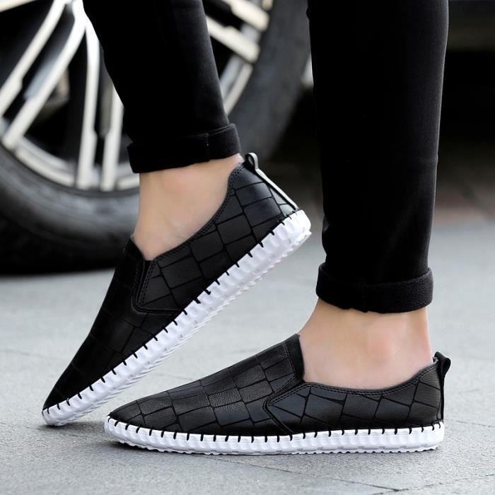 GENIUNE Mocassins en cuir pour homme Casual, mocassins confortables, Slip Flats, Robe Chaussures Zapatos Hombre (Blanc,