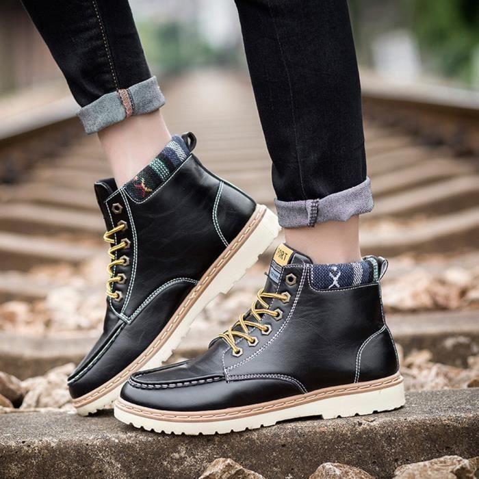 Outdoor Chaussures top Reservece Hommes Noir Haut Lacets Bottes Casual  Automne À Martin 7nqXqT8Ir 715b4957714
