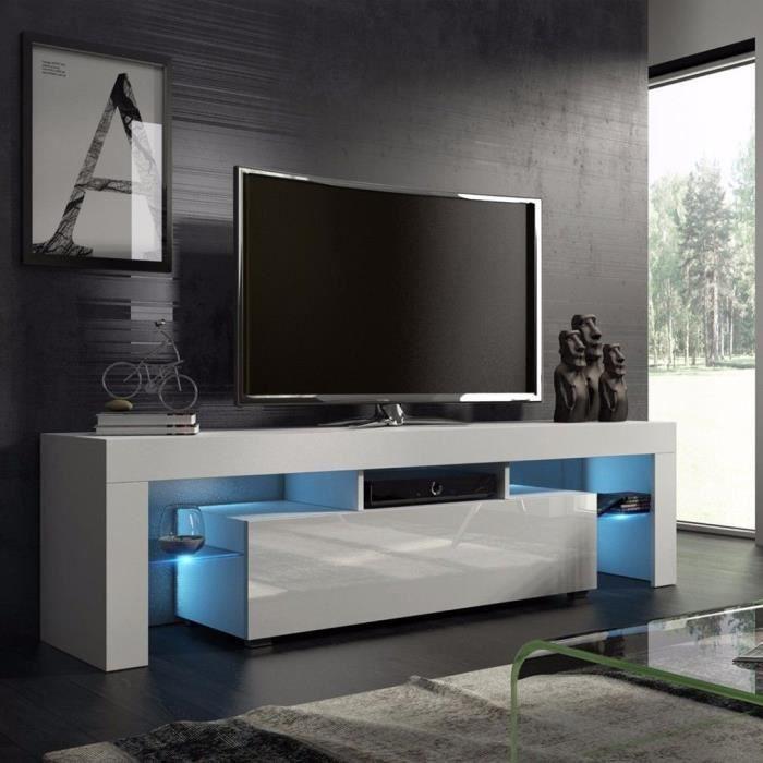 Meuble TV LED de salon Style moderne Blanc simple nordique - 45*130*35cm