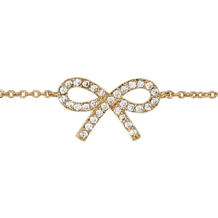 Bracelet Femme 16 à 18cm Noeud Strass Plaqué Or