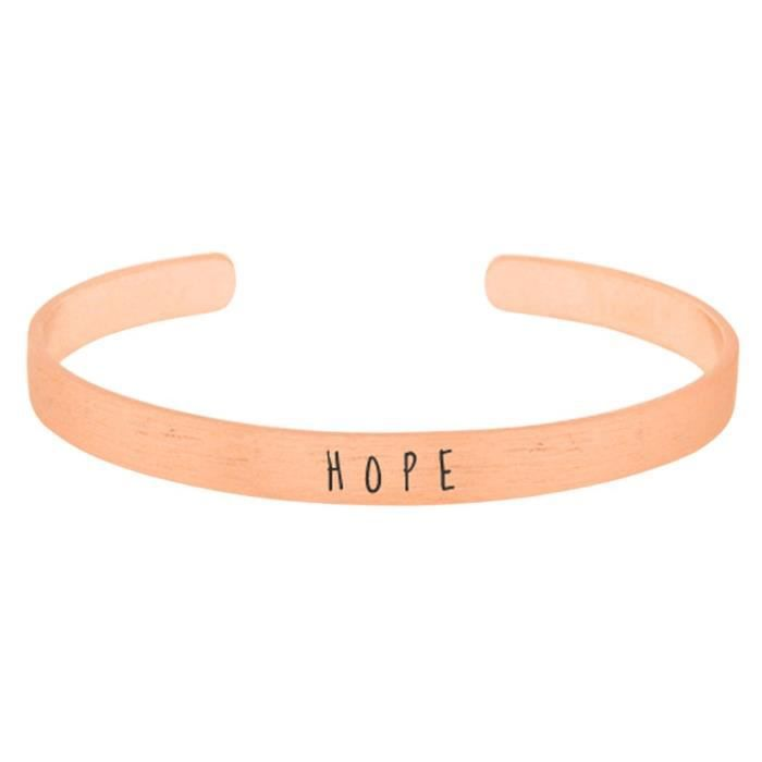 Womens Inspirational Engraved Cuff Bracelet hope QUOYC