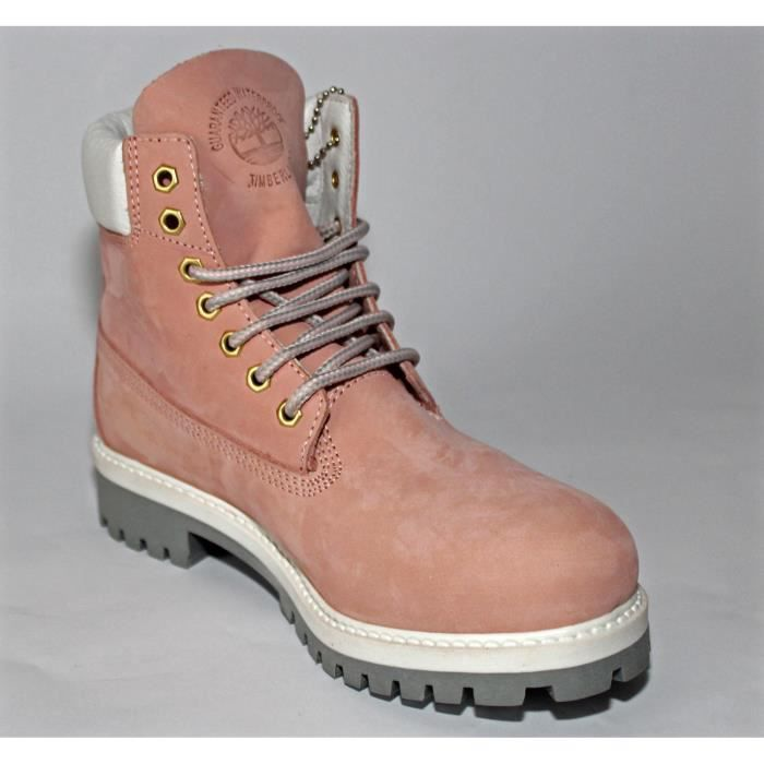 PROMO BOTTES CHAUSSURES FEMME TIMBERLAND CUIR ROSE T 38 OCCASION