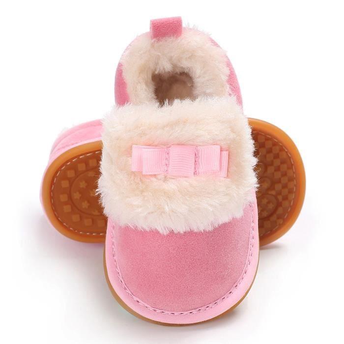 Frankmall®Bow bébé garçons filles chaussures en peluche mocassins douce semelle non-dérapant chaud velours neige ROSE#WQQ0926099 zzulhGX