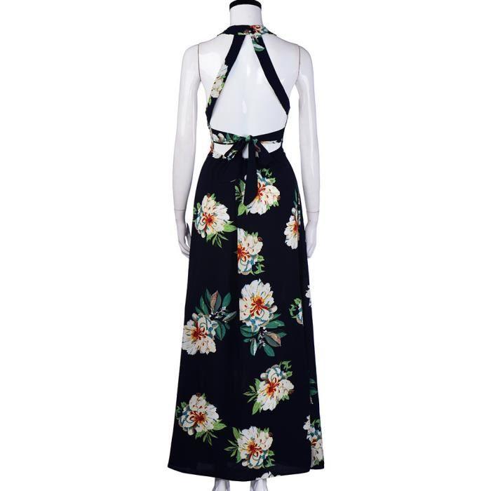 Vroenment®Les femmes florales en mousseline de soie sans manches dos nu Boho Maxi robe de soirée de plage@zf517