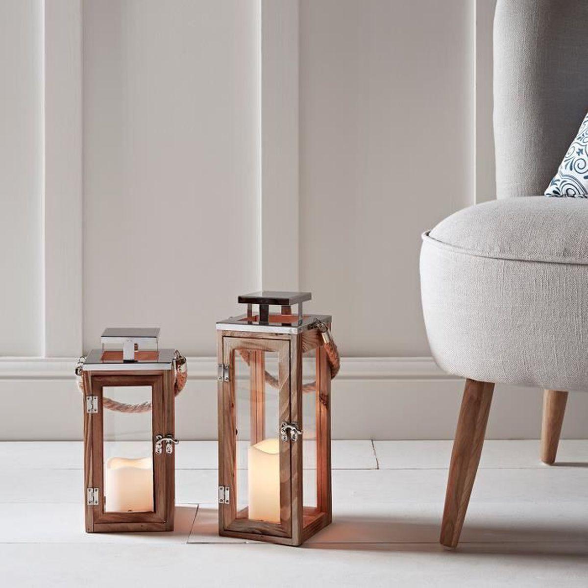 lot de 2 lanternes bois avec bougies led piles achat vente photophore lanterne soldes. Black Bedroom Furniture Sets. Home Design Ideas