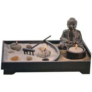 JARDIN JAPONAIS - ZEN Jardin zen avec statue - Statue noire - L. 24 cm