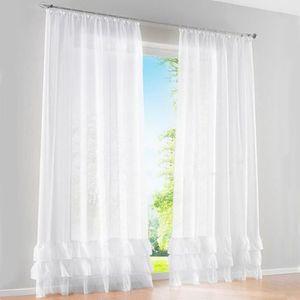 voilage blanc galon fronceur achat vente pas cher. Black Bedroom Furniture Sets. Home Design Ideas