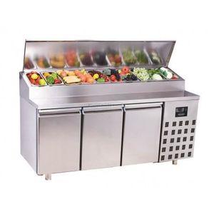 BUFFET RÉFRIGÉRÉ  Saladette réfrigérée compacte 3 portes - 10 x GN 1