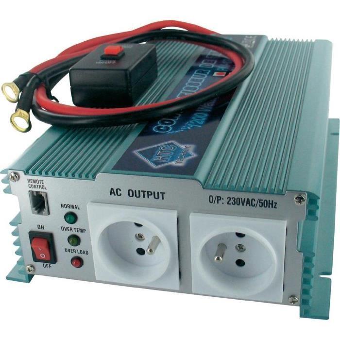 Convertisseur Transformateur de Tension 12/220V 1200W avec Télécommande