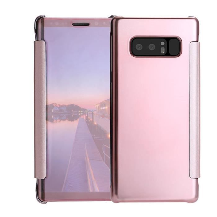 Pour Samsung Galaxy Note 8 Clear View Mirror Leather Flip Stand Case Covercoque HM10041