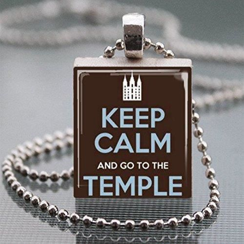 Womens Keep Calm And Go To The Temple Scrabble Tile Pendant Necklace - Wearable Art Charm NZCH8