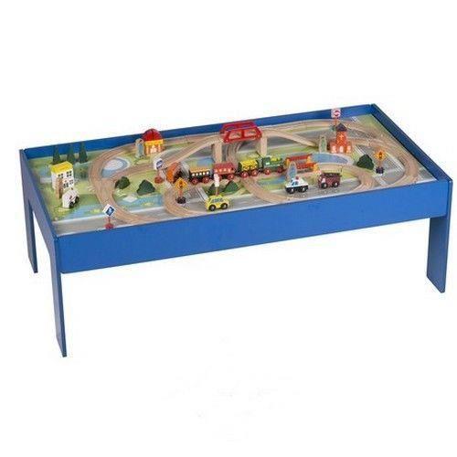 Table train jouet en bois enfant eveil jeu retro circuit miniature voiture - Table de jeux 5 en 1 ...