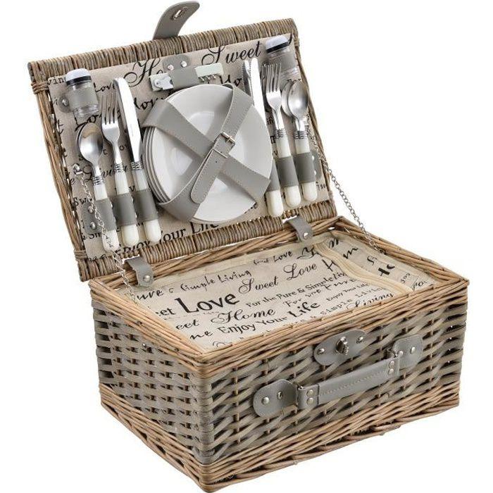 [casa.pro]® Panier de pique-nique pour 4 personnes Incl. vaisselle, couverts, sac isotherme et verres - blanc