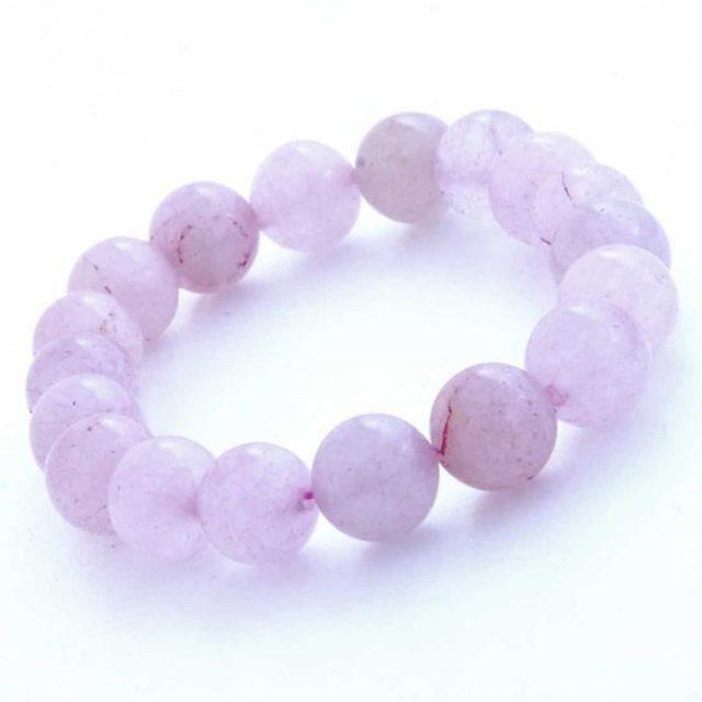 ece65a377f Bracelet Quartz Rose 10 mm en pierres semi-précieuses. Pierre amour ...