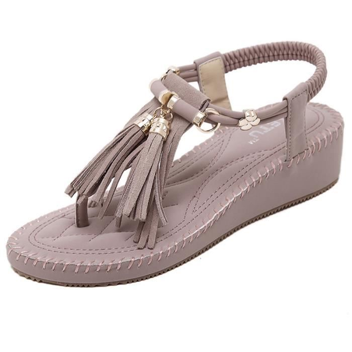 Sandales à Talons Compensés Chaussures Bohême...