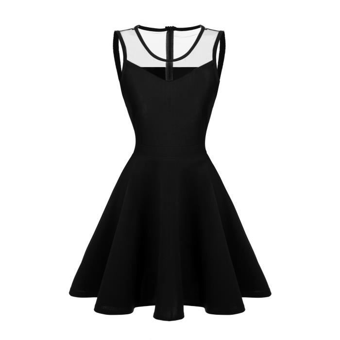 robe Sexy femmes FINEJO maille sans manches Pat...