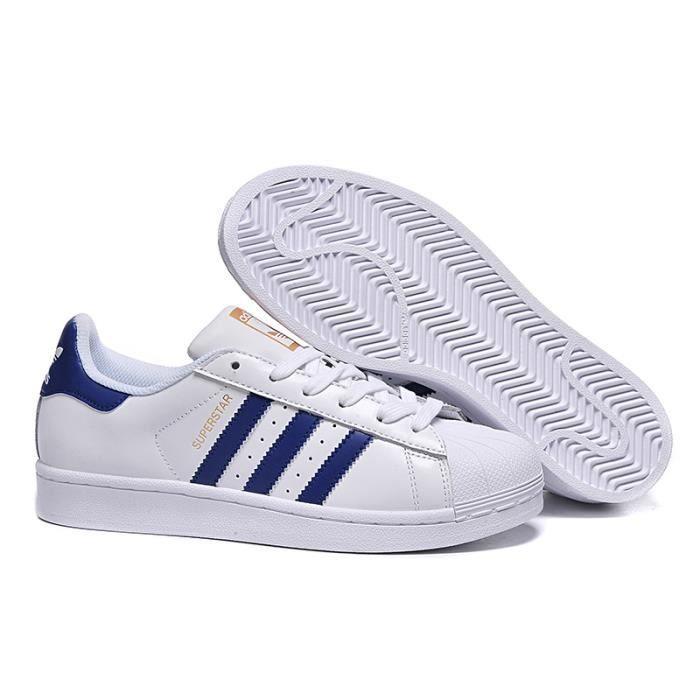 Adidas Original Superstar, Baskets Basses Mixte Adulte Blanc Bleu