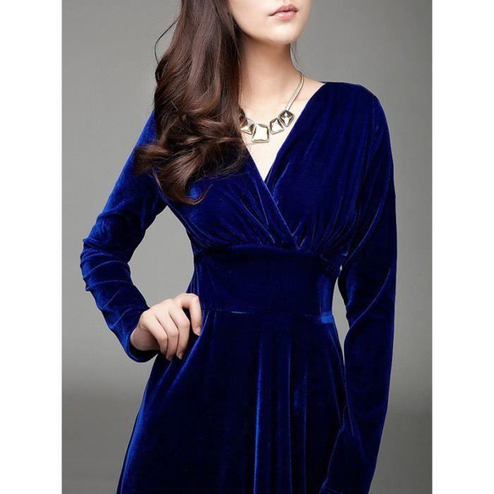 robe des femmes de couleur unie velours côtelé taille pincé robe midi col v