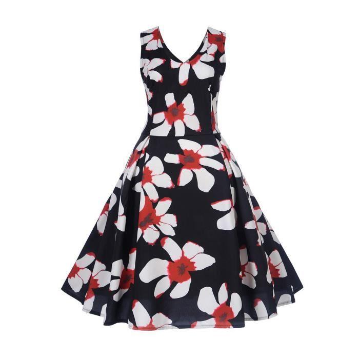 ZF21 Swing Sans Soirée Vintage Dress Manches Moulante Femmes Impression Balançoire Prom Occasionnels azPOxawTq