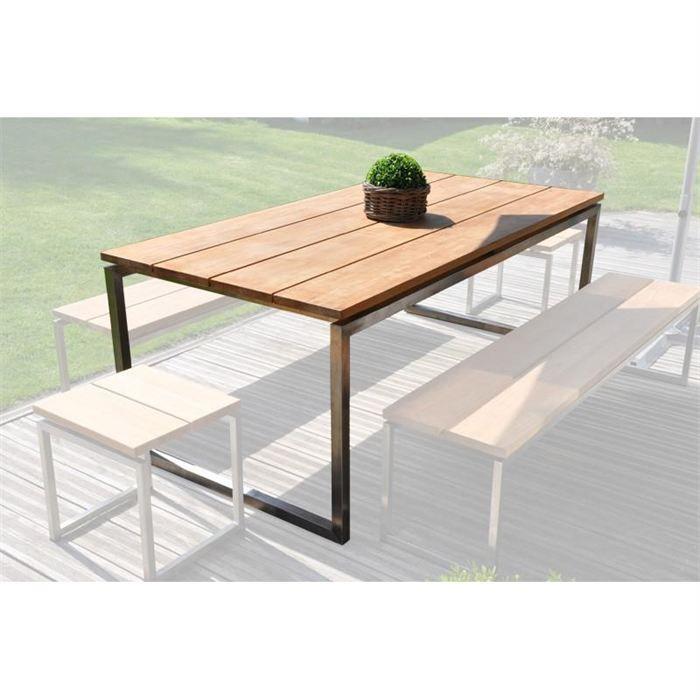 Table de jardin teck et inox Thales - Achat / Vente fauteuil jardin ...